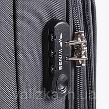 Малый текстильный чемодан на 4-х колесах темно-серый Wings, фото 3