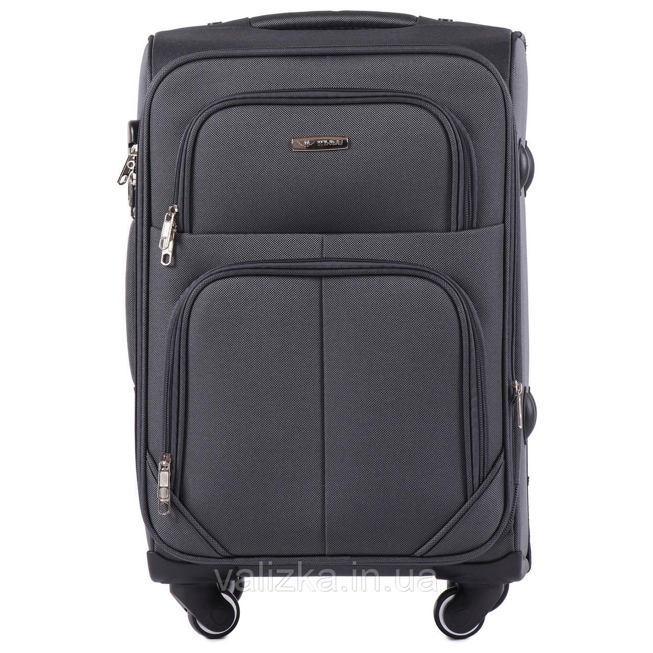 Малый текстильный чемодан на 4-х колесах темно-серый Wings