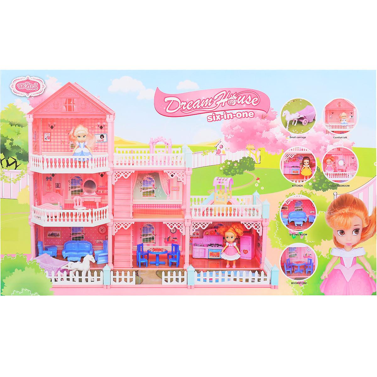 Ляльковий триповерховий будиночок з меблями і лялечками