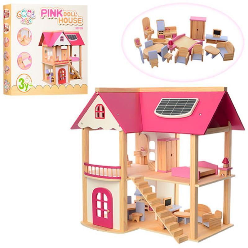 Ляльковий дерев'яний будиночок з меблями