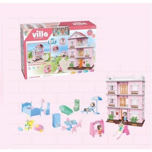 Kукoльный дoмик трехэтажный «Villa» с мебелью и светом