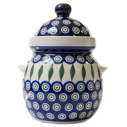 Горшок керамический Бочонок 1,5L с ушкамиПеро Павлина, фото 2