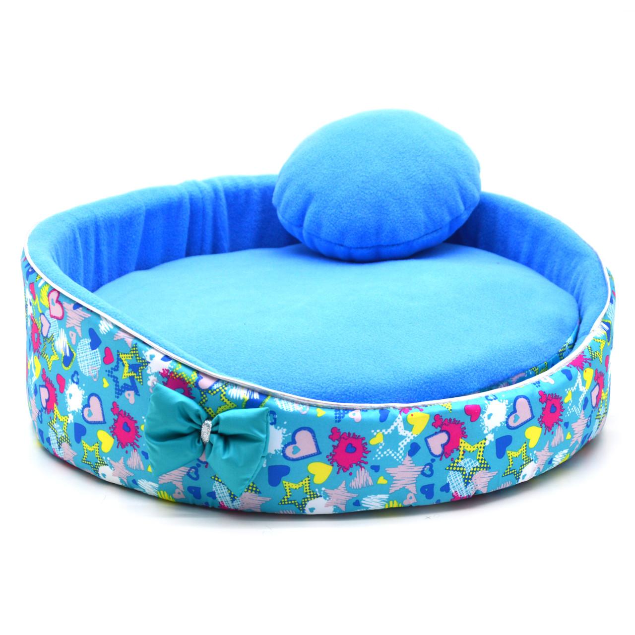 Лежак для котов и собак Звездочка бирюзовый №1  d-400 h-140