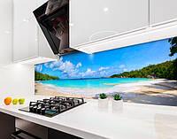 Стеновая панель с фотопечатью побережье моря, пляж, тропики, отдых на самоклеящейся пленке или ПВХ панель Самоклейка 60 х 250 см
