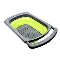 Дуршлаг складной Cumenss Green силиконовый с выдвижными ручками 390/260 мм для мытья овощей и фруктов, фото 2
