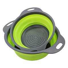Друшляк силіконовий складаний Cumenss Green великий + маленький 180 і 240 мм для миття овочів і фруктів