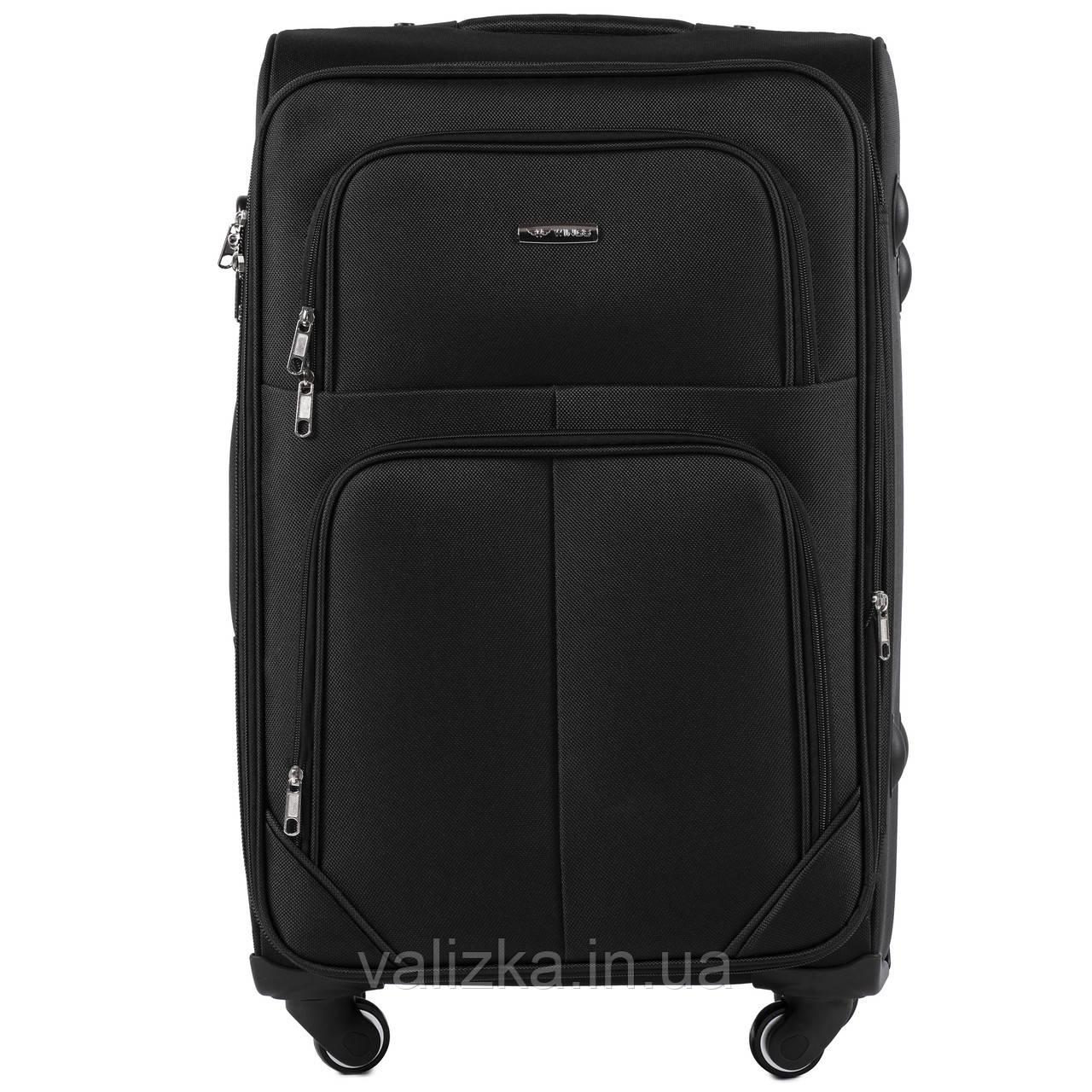 Средний текстильный чемодан на 4-х колесах  черный Wings