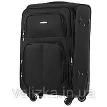 Средний текстильный чемодан на 4-х колесах  черный Wings, фото 2