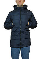 Мужская куртка зимняя прямая длинная,на синтепоне размер 46-52,с  капюшоном,синяя.