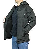 Мужская куртка зимняя прямая длинная,на синтепоне размер 46-52,с  капюшоном,черная