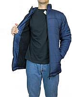 Мужская куртка зимняя прямая длинная,на синтепоне размер 46-52,с  капюшоном,синяя