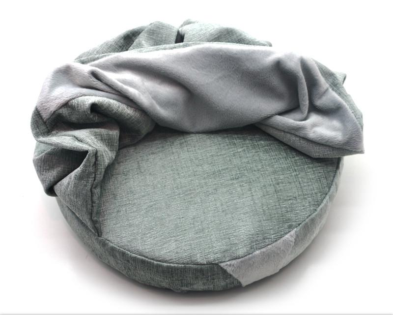 Лежак пуф с одеялом для собак и котов Мystic круглый салатовый №1 420х420х90