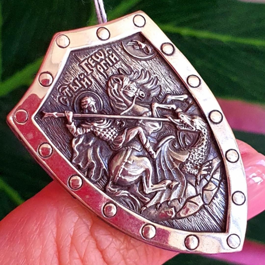 Крупный мужской серебряный кулон Георгий Победоносец на щите