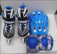 Раздвижные роликовые коньки+шлем+защита+сумка