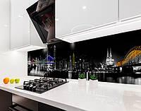 Кухонный фартук с полноцветной фотопечатью город ночью, мост на пленке или ПВХ панель Самоклейка 60 х 250 см