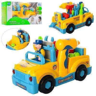Конструктор детский 789 машинка с набором инструментов, музыкальная 21-14см