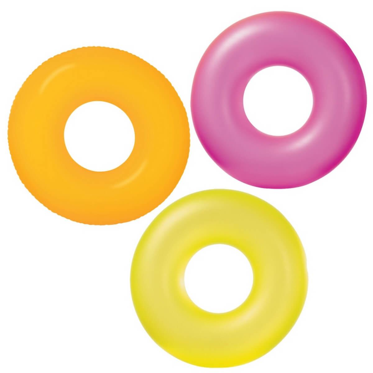 """Надувной круг """"Неон"""" Intex 59262 3 цвета диаметром 91см от 8 лет"""