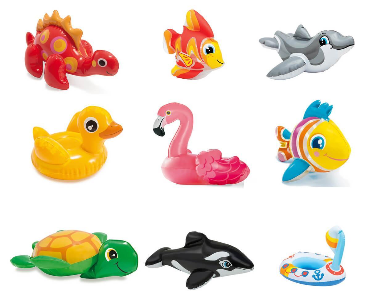 Игрушки детские надувные Intex 58590 4 вида (касатка, фламинго, рыба, уточка) от 2-х лет