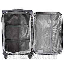 Средний текстильный чемодан на 4-х колесах  темно-зеленый Wings, фото 2