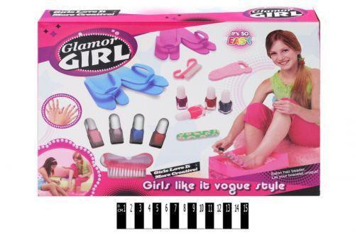 """Дитячий набір для педикюру """"Glamor Girl"""" 809: лак для нігтів 4шт, тапочки, щітка, пилочка"""