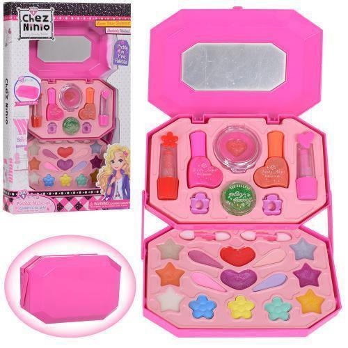 Набор детской косметики в сумочке 77008: лаки для ногтей, помады, тени, румяна, блестки