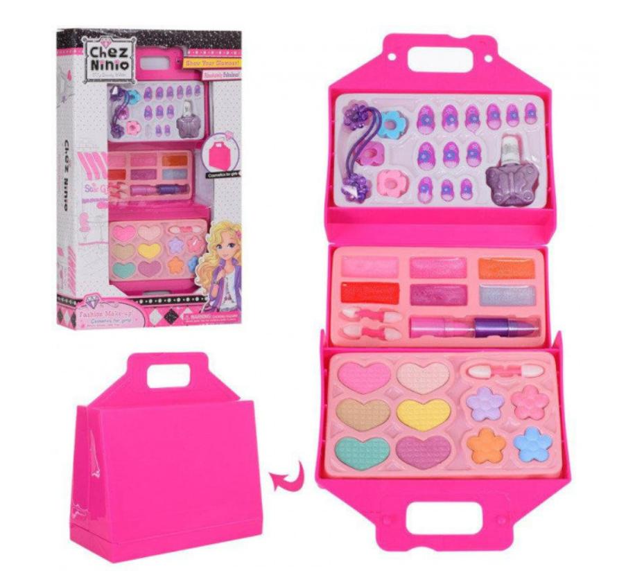 Набор детской косметики в сумочке 77010: лаки для ногтей, помады, тени, румяна, блестки