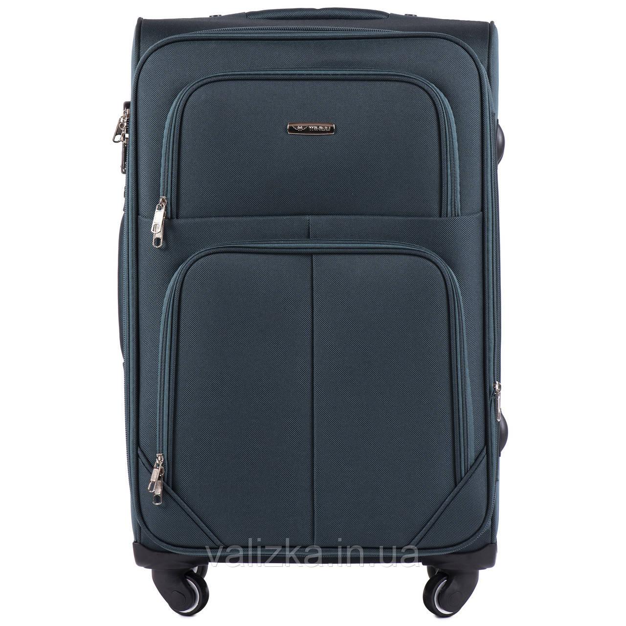 Средний текстильный чемодан на 4-х колесах  темно-зеленый Wings