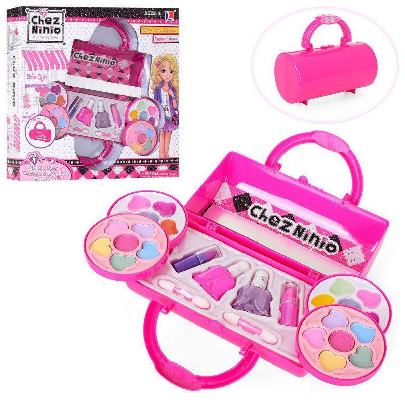 Набор детской косметики в сумочке 77001: лаки для ногтей, помады, тени, румяна, блестки