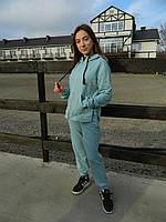 Женская кофта с капюшоном на замке.Женская одежда .Кофта молодежная.Турция  XS-L(42-50) ментоловый оверсайс