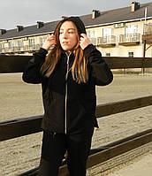 Женская кофта с капюшоном на замке.Женская одежда .Кофта молодежная.Турция  XS-L(42-50) черная оверсайс