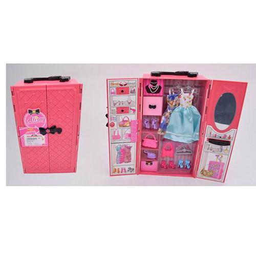 Игровой набор мебель для куклы Барби гардеробная, платья, обувь, сумочки