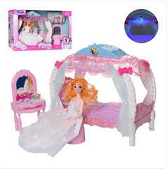 Игровой набор мебель спальня, кровать с балдахином, трюмо, кукла