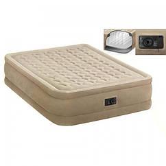 Велюр кровать Intex 64458 со встроенным насосом 220В, 152-203-46см