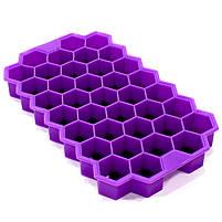 Силиконовая форма для льда CUMENSS Соты Purple емкость для хранения, фото 2
