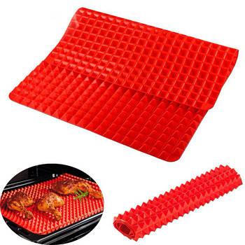 Силиконовый коврик для выпечки Cumenss Пирамидка Red 405/290 мм запекания вафельный антипригарный