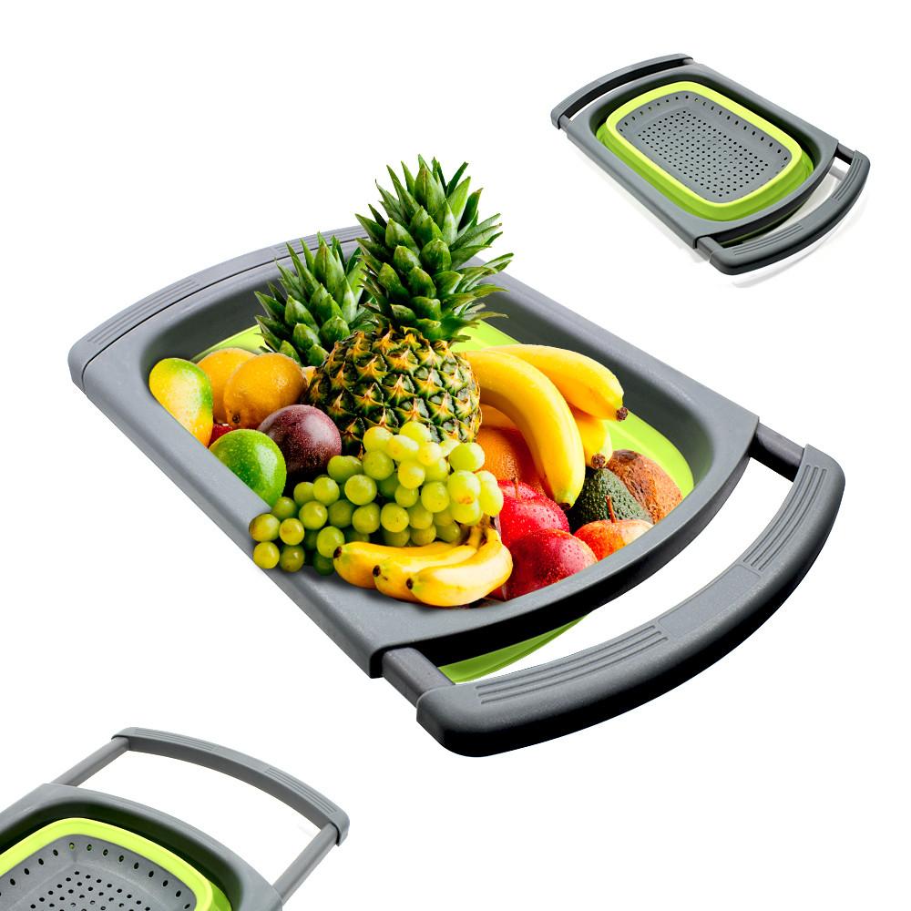 Дуршлаг силиконовый Cumenss Green с выдвижными ручками складной 390/260 мм для мытья овощей и фруктов