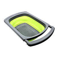 Дуршлаг силиконовый Cumenss Green с выдвижными ручками складной 390/260 мм для мытья овощей и фруктов, фото 2