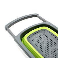 Дуршлаг силиконовый Cumenss Green с выдвижными ручками складной 390/260 мм для мытья овощей и фруктов, фото 5