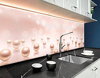 Кухонный фартук жемчуг, абстракция, бежевые сферы, бежевые шары 3D Самоклейка 60 х 250 см
