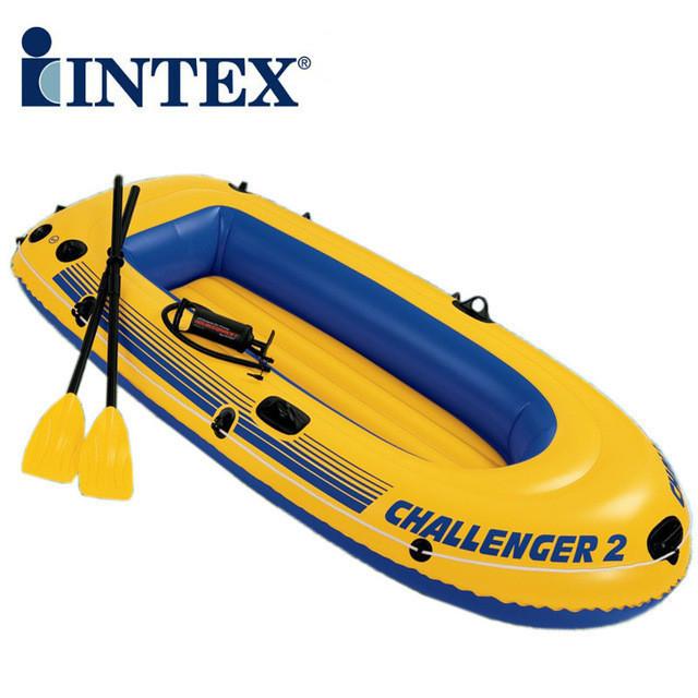 Лодка Intex Challenger 2 с веслами и насосом