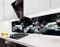 Кухонный фартук вишня, черешня, ягоды в воде, 3D Самоклейка 60 х 250 см