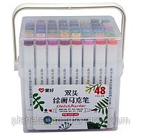 Набор двухсторонних фломастеров/скетч маркеров 48 шт/цветов, AIHAO PM-508-48 Sketch marker