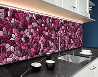 Кухонні фартухи мозаїка, текстура, рубінові камені ПЕТ панель 62 х 205 см