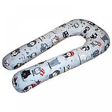 U-образная подушка для беременных Совы на сером
