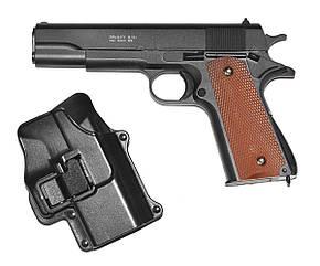 Пистолет метал.пластик G.13+ с пульками,кобурой в коробке 22*14*5см
