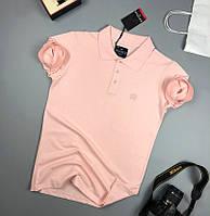 Мужская футболка хлопок поло классическая молодежная розовая Турция. Живое фото. Топ качество