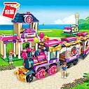 Конструктор Qman 2015 рожева серія, поїзд з вокзалом і фігурками, 690 деталей, фото 2