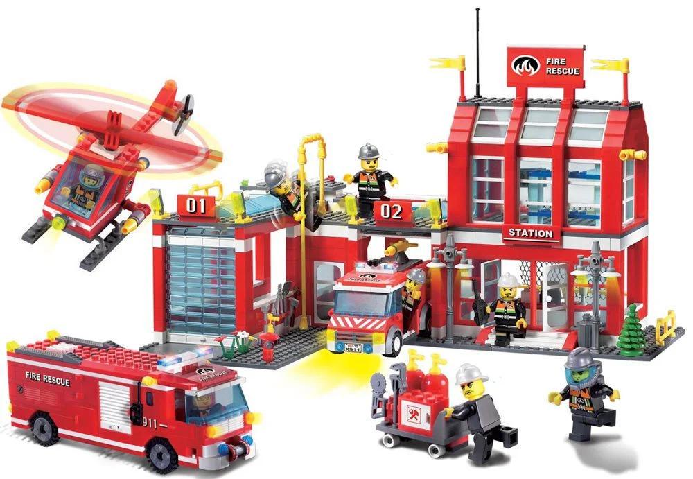 Конструктор Brick 911 Пожарная часть 980 деталей