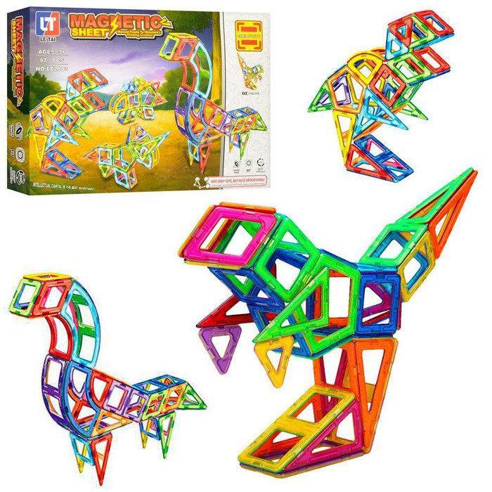 """Конструктор магнитный LT2003 Magnetic Sheet """"Динозавры"""", 97 деталей"""