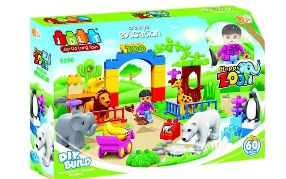 """Конструктор детский JDLT 5090 (аналог Lego Duplo) """"Зоопарк"""" 60 деталей"""